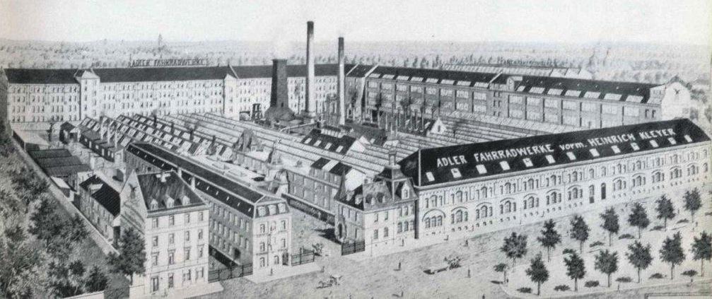Ansicht der Adlerwerke am heutigen Standort aus einer Werbebroschüre um 1910
