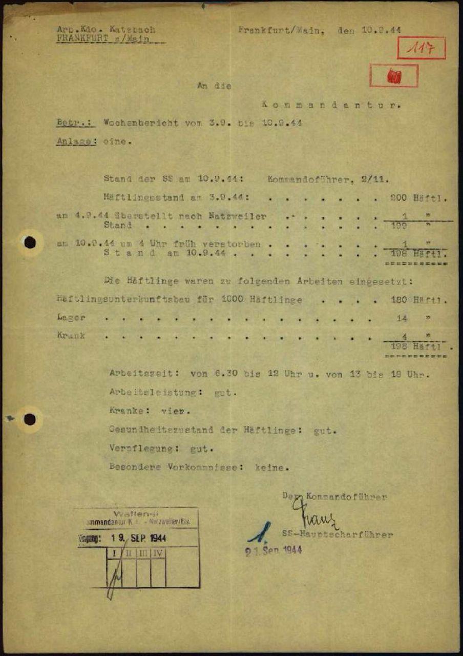 Häftlingsstand am 10.09.1944