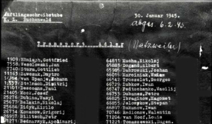 Transportliste vom 30.01.1945 von Buchenwald