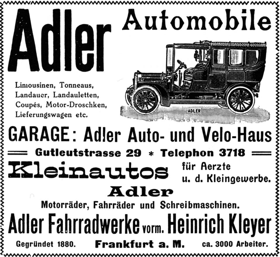 Anzeige Adlerwerke Frankfurt 1907