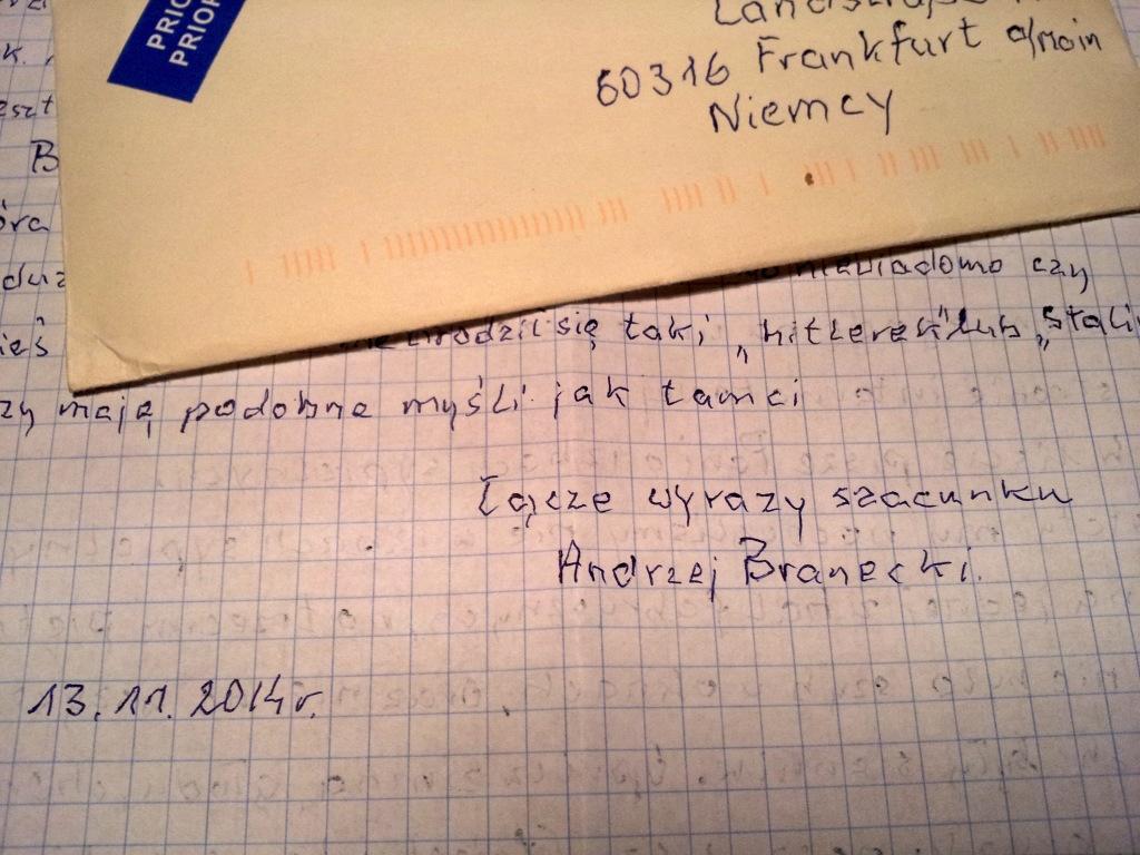 Brief von Andrzej Branecki